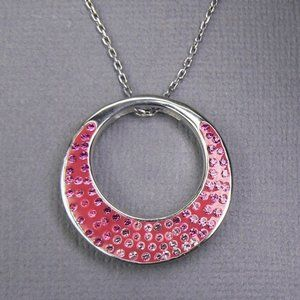 Pink Crystal Circle Sterling SILVER Necklace 18""